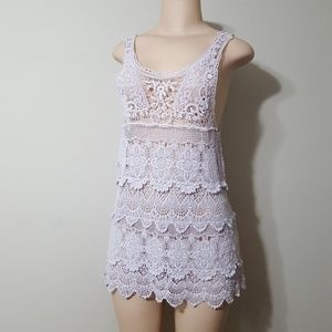 FREE PEOPLE( INTIMATELY FP) LAVENDER CROCHET DRESS